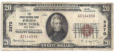 $20.00 Dollar Circulated 1929 NATIONAL BANK NOTE New York, NY. type 1 Ch #2370