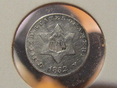 Scarce AU details 1852 Three cent silver ...  tough to find  ( hbh )