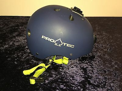 PROTEC HELMET Classic SKATE Rubber BLUE PRO-TEC with GoPro mounts 4 action cam