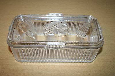 Vintage Federal Glass Ribbed Rectangular Refrigerator Dish with Vegetable Lid #1