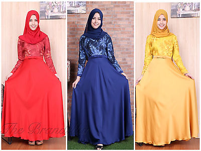 Abaya Islamic Muslim Satin Dress Women Long Sleeve Vintage Dresses