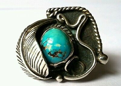 Vintage Navajo Sterling Silver Turquoise Native American Ring (Size 7)