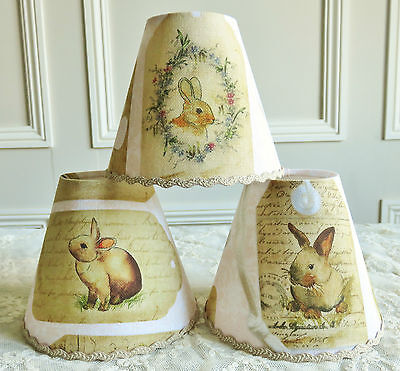 A SUPERB CANDLE LAMPSHADE ADORABLE RABBIT BUNNY 11 x 13 cm FOR WALL LIGHT