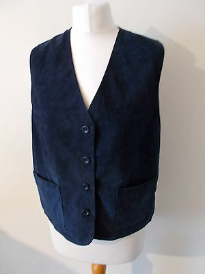 Women's Vintage Blue Suede V Neck Waistcoat  Vest by BHS Size 10/12