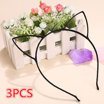 3PCS Fashion Women Cute Cat Kitty Ears Metal Headband Hair Band Cosplay Party