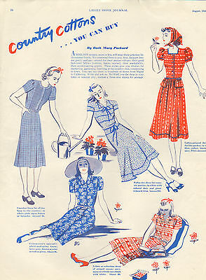 1938 Hollywood Pattern print clothing ad -Ladies Home Journal-/252