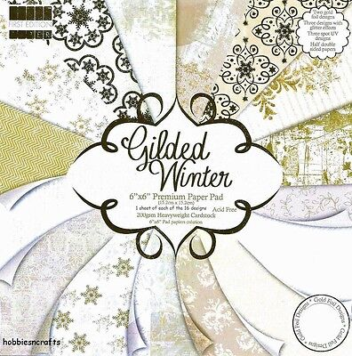 Dovecraft Gilded Winter Papers 6 X 6 Sample Pack  New 1 Of Each Design 16 Sheets