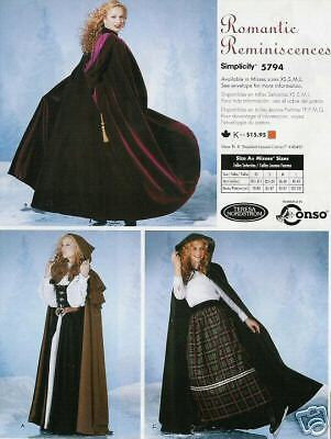 Sewing PATTERN for Hooded Cape Cloak SCA Renaissance costume Simplicity 5794 DIY