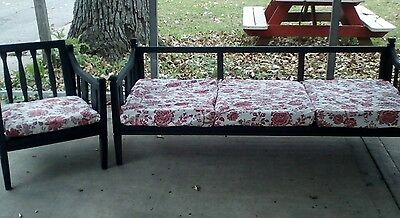 Vintage Mid-Century Danish Modern Chalk Painted Wood Sofa Couch Chair
