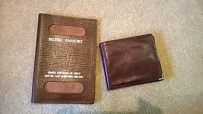 Vintage Wallet & British passport Holder Real Leather Made in England