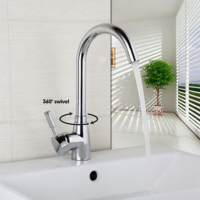 EUB Bathroom swivel water faucet deck mounted single handle basin sink mixer tap