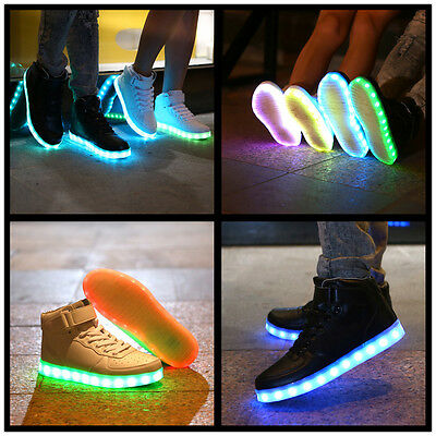 New Unisex Adult LED Light Up Luminous Shoes High-tops Casual Sneakers Trainers