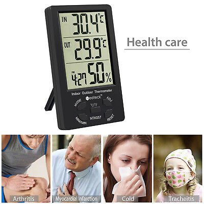 LCD Wireless Weather Station 8-Channel Thermometer Hygrometer +3 Remote Sensors