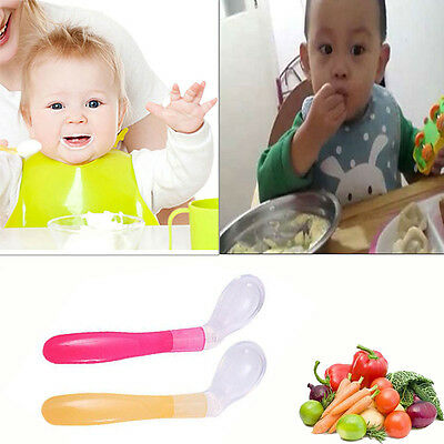 New Baby Kids Bent-Handled Baby Feeding Spoon Weaning Silicone Head Tableware