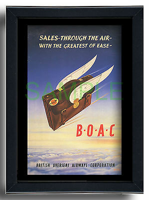 BOAC Sales through the Air winged briefcase framed repro poster MPH 1952