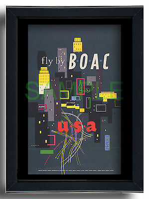 Fly by BOAC USA skyscrapers framed repro poster Dick Negus Philip Sharland 1954