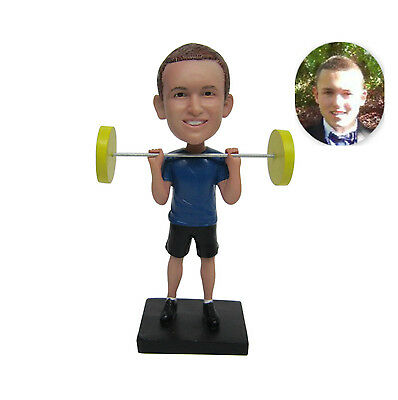 Personalized Male Weightlifting Bobblehead Weightlifter Sports Figurine