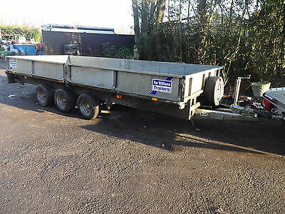 ifor williams 16 foot tri axle trailer c/w sides & heavy duty ramps digger mower