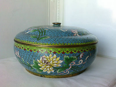 578 China cloisonne hot enamel 5 or 6 colors big bowl w cap very good condition