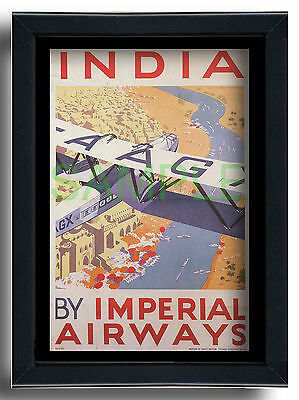 Imperial Airways India framed repro poster Constable 1935 Handley Page 42