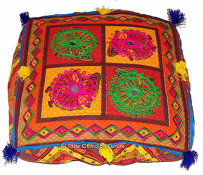 """16"""" Square Embroidered Cushion Seat Floor Ottoman Pouf Stool Cover INDIAN Decor"""