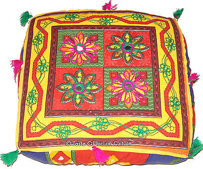 """16"""" Square Cushion Seat Floor Ottoman Pouf Stool Cover INDIAN Ethnic Decorative"""