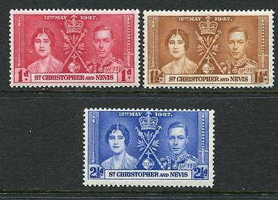 St Kitts Nevis: 1937 Coronation set  SG65-7 LMM GG011