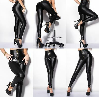 Women Leggings Zipper Clubbing Ladies Wet Leather Look Pants Trouser High Waist