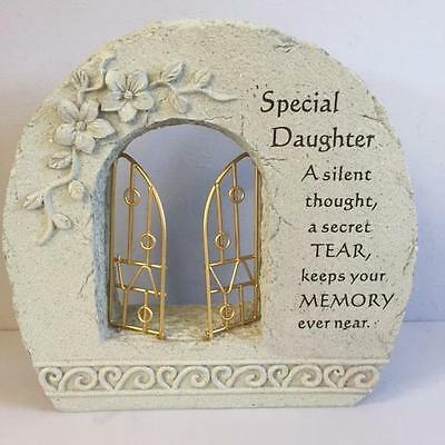 New GATES TO HEAVEN SPECIAL DAUGHTER Grave Memorial Remembrance Plaque Ornament