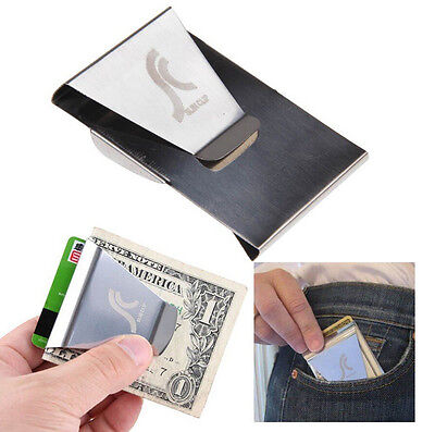 Slim Stainless Steel Double Sided Money Clip Wallet Credit Card ID Holder New