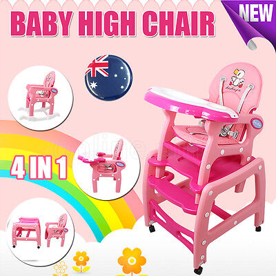 4 IN 1 Adjustable Baby High Chair Dinning Set Rocking Horse Study Table Feed Kid