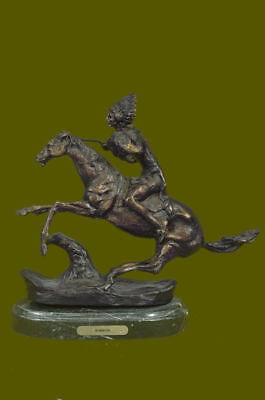 American Indian Warrior Signed Remington Bronze Sculpture Statue Figurine Figure