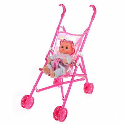 Dolls Buggy Stroller Pushchair Pram Foldable Toy Doll Pram Baby Doll T9O2
