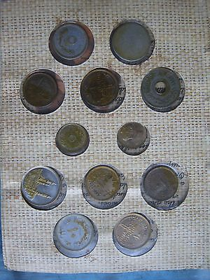 Egypt 12 various used coin set collection in info folder