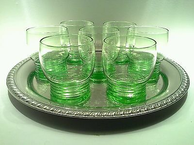 Vintage Stuart Crystal Uranium Green Footed Cordial Glasses & SilverplateTray