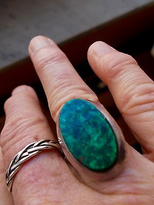 SUMMER DISCOUNT:Peruvian Chrysocolla, turquoise, sterling silver statement ring