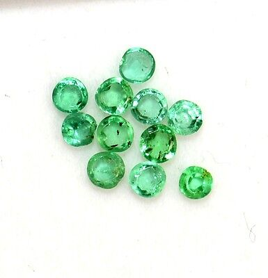 Natural Emerald Round Cut 1.75 mm 11 Pcs 0.31 Cts Untreated Lustrous Gemstones