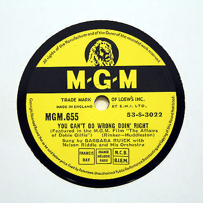 """BARBARA RUICK """"You Can't Do Wrong Doin' Right"""" (E+) M-G-M 655 [78 RPM]"""