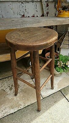 Antique Vintage Rustic Old Wooden stool Seat Chair Rare Original Solid oak rare