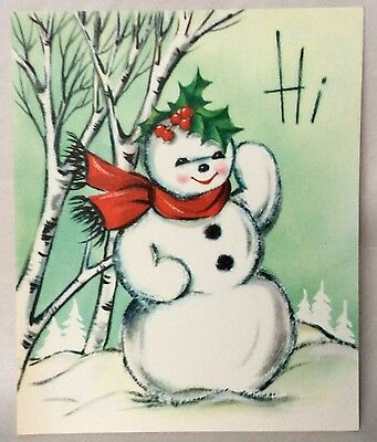 UNUSED Adorable Snowman Red Scarf Waving 1950's Vintage Christmas Greeting Card