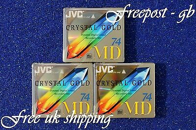 3 x JVC RECORDABLE BLANK MINIDISCS - 74 MINUTES CRYSTAL RANGE - BRAND NEW BOXED
