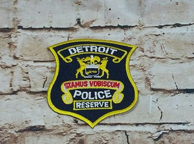 Original Vintage Detroit Michigan DPD Police Reserve Embroidered Iron-On Patch