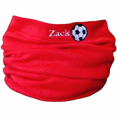 Boys & Girls Personalised Name & Football Winter Neck Scarf Snood Red
