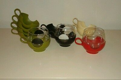 1960's Pyrex Plastic Round Cup Holders Handles Red White Green DRINKUPS glasses