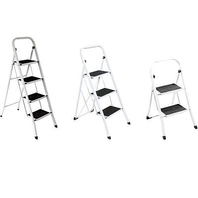 2 3 4 Step Ladder With Safety Anti-Slip Rubber Mat Tread Folding Iron Frame DIY
