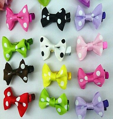 10x Girls baby kids Toddler children hair bow ribbon with clips