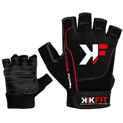 KIKFIT Amara Leather Half Finger Wheelchair/Crutch Sports Gloves Gym Training