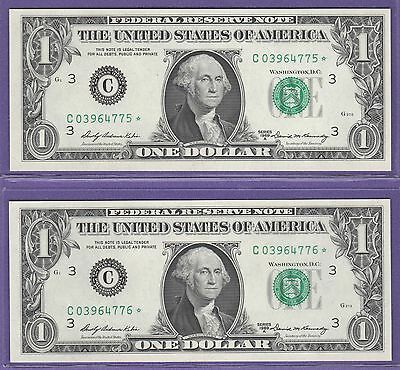 1969A  Federal Reserve *star* Note One Dollar Bills ..$1.00..2 Consecutive 7576