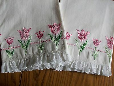 Set Of Vintage Pillowcases ~ Hand Embroidered ~ Pink Tulips ~ Eyelet Border