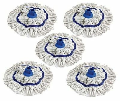 5 X Professional Cleaning Looped Yarn Cotton Mop Head Socket 220g ( BLUE )